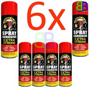 6x Adhesive Glue for Card Paper Foam Tile Carpet Card Craft Fabric Spray - 500ml