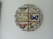 Contemporary, Butterfly & Bird Print, Round Wall Clock, 33 cm