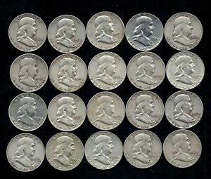 ROLL (20) FRANKLIN HALF DOLLARS 90% SILVER (1949-1962) LOT C75