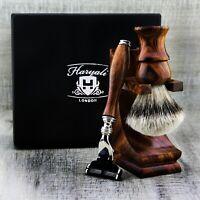 Classic Men's Shaving Set | Luxury Wet Shaver Hair Remove Razor & Brush + Stand