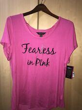 XL Thalia Sodi Breast Cancer Fearless in Pink Glitter Ribbon T-shirt Top Blouse