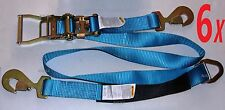 6 Axle Straps Car Hauler Trailer Auto Tie Down Ratchet Flatbed Towing Hauler BLU
