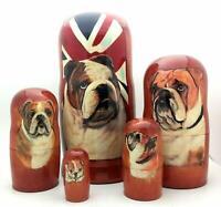 English Bulldog Russian Hand Crafted Nesting Doll 5 piece Dog Stacking Set