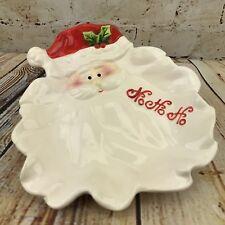 New listing Christmas Snack Dish Bowl Santa Claus Face Beard Ho Ho Ho Holiday Home Decor