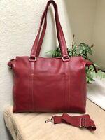 Wilsons Leather Handbag Bag Large Red Shoulder Business w/Detachable Strap GPC