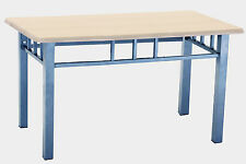 Coffee Table Rectangle Top Silver Metal Frame Beech Finish Solid Durable Strong