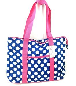 "Ever Moda Beach or Shopping Polka Dots Tote Bag in Blue with Pink 21"" -  NEW!"