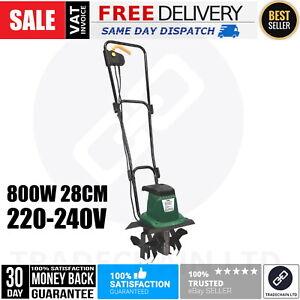800W Tiller Garden Soil Cultivator Rotavator 220-240V Rototiller 28cm Foldable