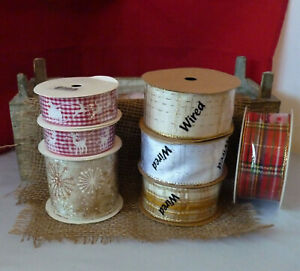 ASSORTED ROLLS OF WIRE EDGE CHRISTMAS PATTERN RIBBON # CRAFTS/WREATH/GIFT