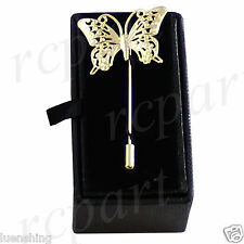 New in box Men's Suit brooch chest metal butterfly shape gold lapel pin formal