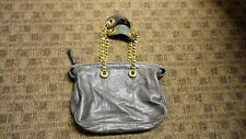 JUICY COUTURE Gray Solid Leather Casual Shoulder Bag Purse Size M B5018