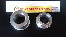 Kawasaki ZX6R ZX6 1998 1999 Captive wheel spacers. Rear wheel set. Silver.