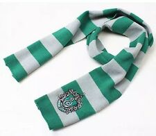 "Harry Potter Slytherin Scarf Green & Silver Costume Knit Wool 63"" US Seller"
