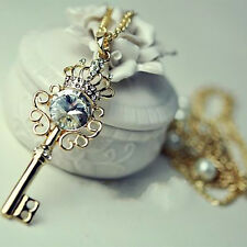Fashion Women Gold Plated Crown Crystal Key Pearl Pendant Long Chain Necklace
