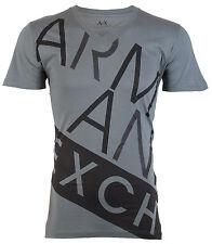 Armani Exchange BIAS Mens Designer T-SHIRT Premium GREY BLACK Slim Fit $45 NWT