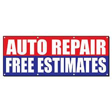 AUTO REPAIR FREE ESTIMATES BODY SHOP Business Sign Banner 4' x 2' w/ 4 Grommets