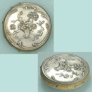 Antique Silver Pin Cushion / Disc  with Flower Basket * French * Circa 1890s