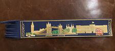 Leather BOOKMARK LONDON Souvenir Parliament Palace Bridge BLUE