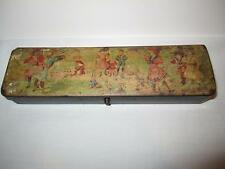 Antique Vintage Child's Children's School Box Paper Mache Lacquerware Pencil Box