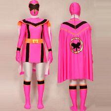 Pink Power Rangers Mystic Force Cosplay Adult Halloween Costume Bodysuit Cloak