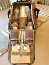 13 Pcs Wine & Cheese Tote Picnic Bag Insulated Wine Section Brown & Tan