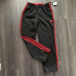 NWT youth Adidas athletic track pants Size M (10-12) black & red