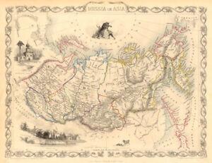 RUSSIA IN ASIA. Oblasts Districts.Siberia Urals Far East. RAPKIN/TALLIS 1851 map