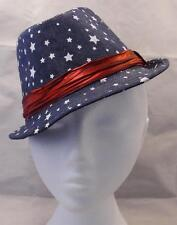 Child Toddler Trilby Fedora Hat BLUE STARS WITH RED BAND summer occasion wedding