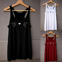 Women Casual Loose Sleeveless Cat Printed Soft Vest Tank Tops T-Shirt Blosue