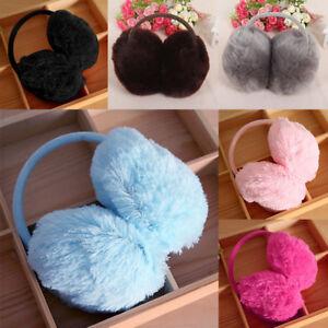 Cute Fur Ear Muffs Warmer Women Girl Plush Winter Warm Thick Fluffy Behind Head