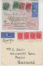 1935 2x external air mail covers *HAMPSTEAD-STOCKHOLM* & LONDON-SALZBURG AUSTRIA