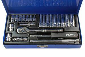 "US PRO Tools 24pc 1/4"" Metric Socket Set Ratchet Deep & Shallow 4 -13mm 3253"