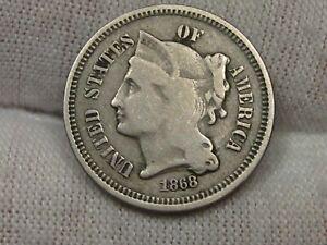 1868 3¢ Cent Nickel. #8
