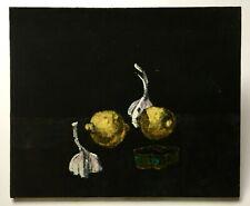 Tableau ancien signé, Huile sur toile, Nature morte, Citrons et ail, XXe