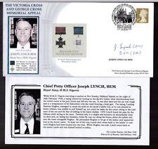 George Cruz 2003 Cubierta personalmente firmado Joseph Lynch GC HMS Nigeria Malvinas