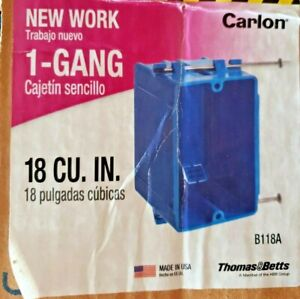 24 EACH CARLON  1 Gang 18 cu Single  Outlet Switch New Work Wall Electrical Box