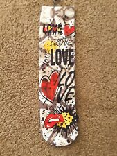 JACQUES MORET NWT CREW DANCE SOCKS SZ 9-11 NEON GRAFFITTI ART LOVE DESIGN