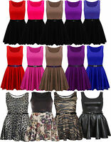 New Womens Plus Size Colour Block Printed Belted Flared Skater Skirt Dress 16-26