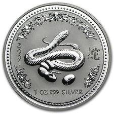 2001 Australia 1 oz Silver Year of the Snake BU - SKU #1103