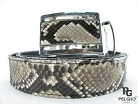 "PELGIO Real Genuine Python Snake Skin Leather Men's Auto Belt 46"" Long Natural"
