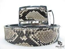 "PELGIO Real Genuine Python Snake Skin Leather Men's Auto Belt 46"" Long Natural"