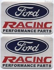 """""""TWO"""" 2 FORD RACING Performance Parts Emblems, Brushed Aluminum Finish ship fast"""