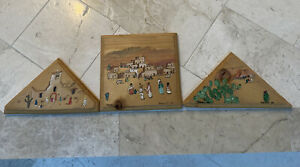 Pueblo SW Folk Art - 3 Pieces; Paint on Board Sunday At the Mission OOAK Signed