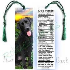 "BLACK LABRADOR RETRIEVER Large 6"" BOOKMARK LAB FACTS Quote Dog Art Book CARD Mix"