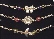 NEW in box Avon set of 3 anklets silver tone butterfly flower & dove with beads