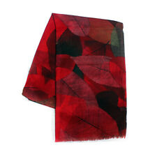 Women's Red Cashmere Wool Shawl/Wrap Leaves Printing Scarves