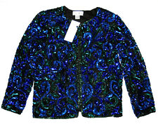 Laurence Kazar Sequin Beaded Evening Jacket Womens Size Petite Small PS $79 NWT