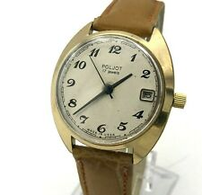 Classic Gold Plated POLJOT Soviet Watch Date Formal SERVICED Casual Men 18k USSR