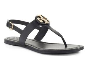 Tory Burch NEW Bryce Claire Black Leather Thong Sandal Ankle Strap $228  US 7