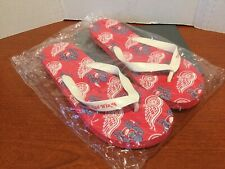 Mens Womens DETROIT RED WINGS FLIP FLOPS Sandals. Size Large NEW